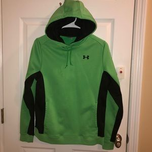 Under Armour Green Black Hoodie Pullover Pockets M